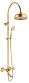 Душевая система  KAISER Aria с термостатом, золото (стац. лейка мет. Ø-200mm)