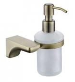Дозатор для жидкого мыла настенный (стекло) бронза (цинк)