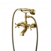 Смеситель KAISER Carlson Style ванна к/н крест керамика (бронза светлая)